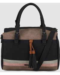 Caminatta - Large Black Bowling Bag With Contrasting Stripes - Lyst