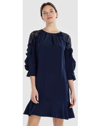 Yera - Dress With Lace And Frills - Lyst