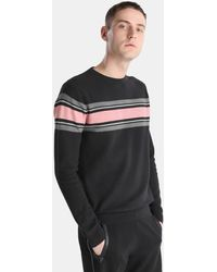Green Coast - Black Striped Jumper With A Round Collar - Lyst