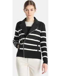 Lauren by Ralph Lauren - Striped Jacket With A Diagonal Fastening - Lyst