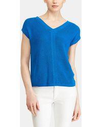 Lauren by Ralph Lauren - Blue Short Sleeved Jumper - Lyst
