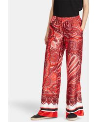 Lauren by Ralph Lauren - Silky Twill Printed Wide Leg Trousers - Lyst