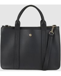 El Corte Inglés - Medium Black Handbag With Front Strap With Top Stitching - Lyst