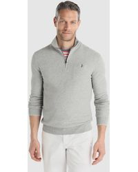 Polo Ralph Lauren - Grey Pima Cotton Sweater With A Polo Neck - Lyst