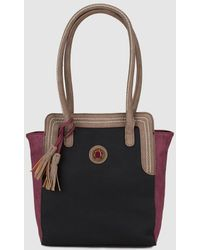 Caminatta - Large Tricoloured Black, Brown And Red Tote Bag With Tassel - Lyst