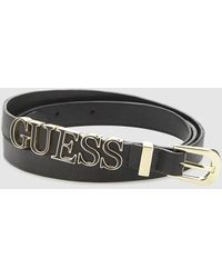 Guess - Wo Black Belt With Logo - Lyst
