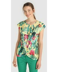 Yera - Short Sleeve T-shirt With Tropical Print - Lyst