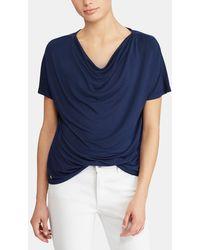 Lauren by Ralph Lauren - Short Sleeved Draped Neckline T-shirt - Lyst