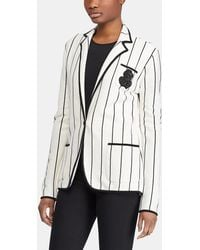 Lauren by Ralph Lauren - Striped Jacket With Embroidered Crest - Lyst