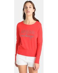 Armani Exchange - Red Sweater With Front Logo - Lyst