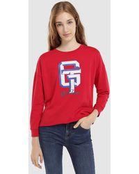 Green Coast - Slogan Print Sweatshirt With A Cut Hem - Lyst