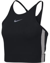 50879b1c6da5b Lyst - Nike Mesh Panel Crop T-shirt in Black