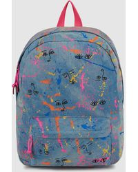 Green Coast - Wo Blue Denim Backpack With A Contrasting Print - Lyst