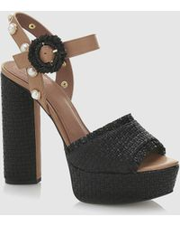 Guess - Black High-heel Sandals With Raffia Vamp - Lyst