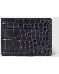 Jo & Mr. Joe - Mens Navy Blue Embossed Leather Card Holder - Lyst