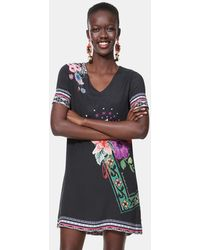 c727358502 Lyst - Troubadour The Delancey Mix Print Dress in Black