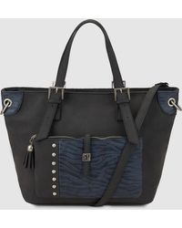Caminatta - Large Black Tote Bag With Contrasting Print - Lyst