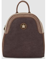 Caminatta - Wo Two-tone Brown And Beige Backpack With Metal Logo Detail - Lyst