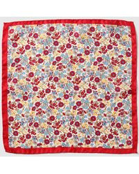 Mirto - White Silk Pocket Square With Multicoloured Flowers And Red Edging - Lyst