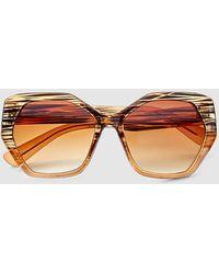 El Corte Inglés - Wo Brown Hexagonal Sunglasses - Lyst