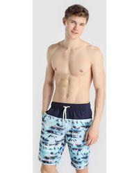 Green Coast - Blue Printed Swim Trunks - Lyst