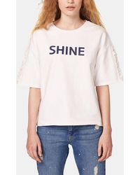 Esprit - T-shirt With Slogan And Frills - Lyst