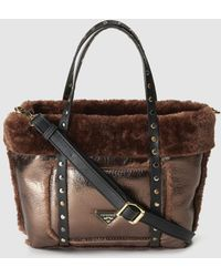 Pepe Moll - Small Bronze Tote Bag With Matching Fur - Lyst