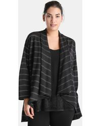 Couchel - Plus Size Long Sleeve Cardigan With Stripes - Lyst