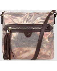 Pepe Moll - Wo Metallic Nude Crossbody Bag With Brown Details - Lyst
