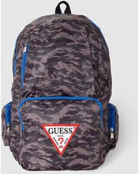 Guess - Mens Camouflage Print Backpack With Blue Piping - Lyst