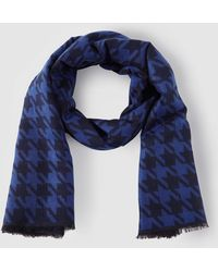 Gloria Ortiz - Wo Royal Blue Foulard With A Black Hounds-tooth Print - Lyst