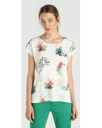Yera - Floral And Stripe Print T-shirt - Lyst