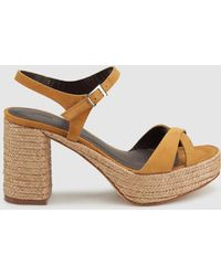 7980e1b07d16 Gloria Ortiz - Mustard Leather High-heel Sandals With Crossover Straps -  Lyst