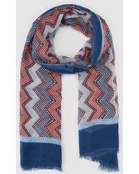 El Corte Inglés - Red And Blue Zigzag Print Foulard - Lyst