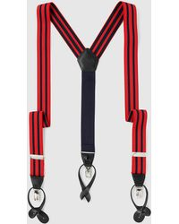 Mirto - Red Stretch Braces With Navy Blue Stripes - Lyst