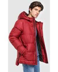 Green Coast - Burgundy Quilted Coat With Hood - Lyst