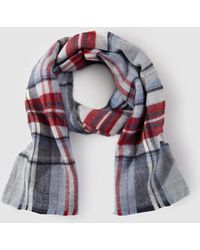 El Corte Inglés - Grey And Red Check Print Maxi Scarf - Lyst