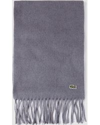 Lacoste - Grey Wool Scarf With Fringe - Lyst