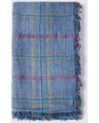 El Corte Inglés - Large Blue Checked Foulard With Frayed Edges - Lyst