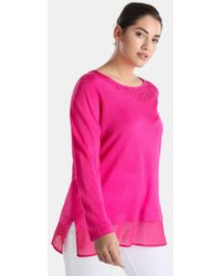 Couchel | Plus Size Sweater With Rhinestones And Shirt-tails | Lyst
