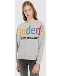 Green Coast - Grey Sweatshirt With Embroidered Text - Lyst