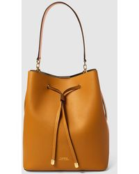 Lauren by Ralph Lauren - Mustard Leather Bucket Bag With Taupe Interior -  Lyst 09380d591af