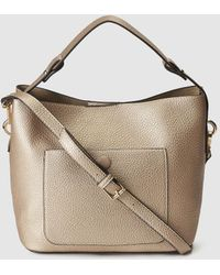 El Corte Inglés - Small Gold Hobo Bag With Zip - Lyst