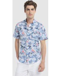 Izod - Regular-fit Blue Printed Shirt - Lyst