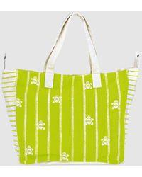 Caminatta - Pistachio Green Cotton Beach Bag With Contrasting Print - Lyst