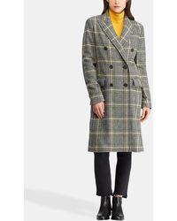 Lauren by Ralph Lauren - Long Checked Coat - Lyst