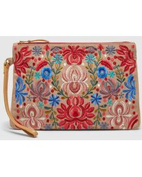El Corte Inglés - Small Nude Raffia Pouch Bag With Multicoloured Embroidery - Lyst