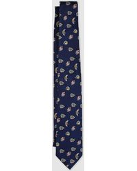 Lauren by Ralph Lauren - Navy Blue Silk Tie With Fish Embroidery - Lyst