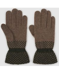 El Corte Inglés - Brown Knitted Gloves With Contrasting Cuffs - Lyst