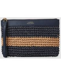 Lauren by Ralph Lauren - Two-tone Navy Blue And Tan Striped Paper Pouch - Lyst